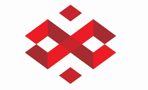 """兴港的logo主体,以四个红色箭头形成两个""""z""""(""""郑州""""拼音字母)交叉"""